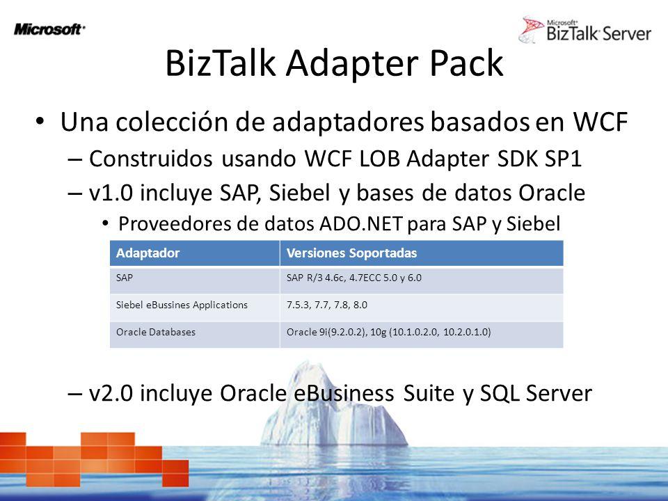 BizTalk Adapter Pack Una colección de adaptadores basados en WCF – Construidos usando WCF LOB Adapter SDK SP1 – v1.0 incluye SAP, Siebel y bases de da