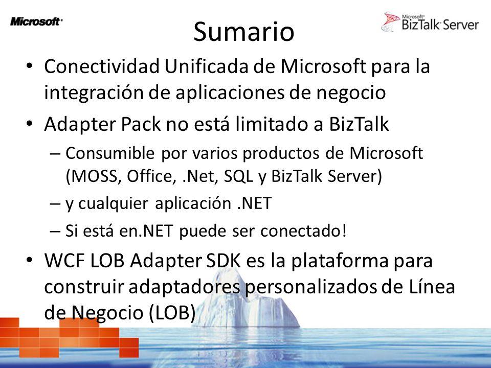 Sumario Conectividad Unificada de Microsoft para la integración de aplicaciones de negocio Adapter Pack no está limitado a BizTalk – Consumible por va