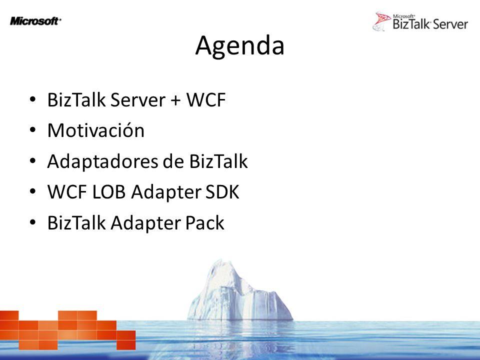 Agenda BizTalk Server + WCF Motivación Adaptadores de BizTalk WCF LOB Adapter SDK BizTalk Adapter Pack