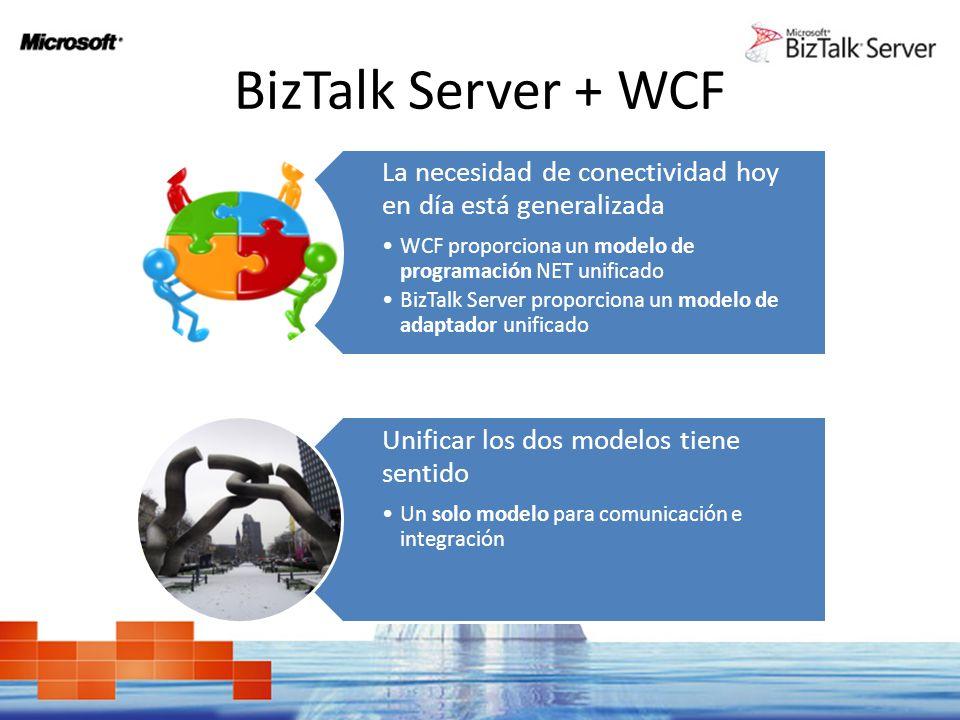 BizTalk Server + WCF La necesidad de conectividad hoy en día está generalizada WCF proporciona un modelo de programación NET unificado BizTalk Server