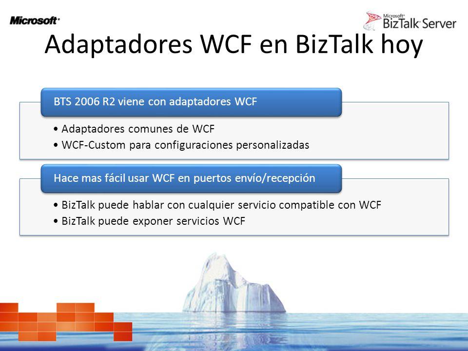 Adaptadores WCF en BizTalk hoy Adaptadores comunes de WCF WCF-Custom para configuraciones personalizadas BTS 2006 R2 viene con adaptadores WCF BizTalk