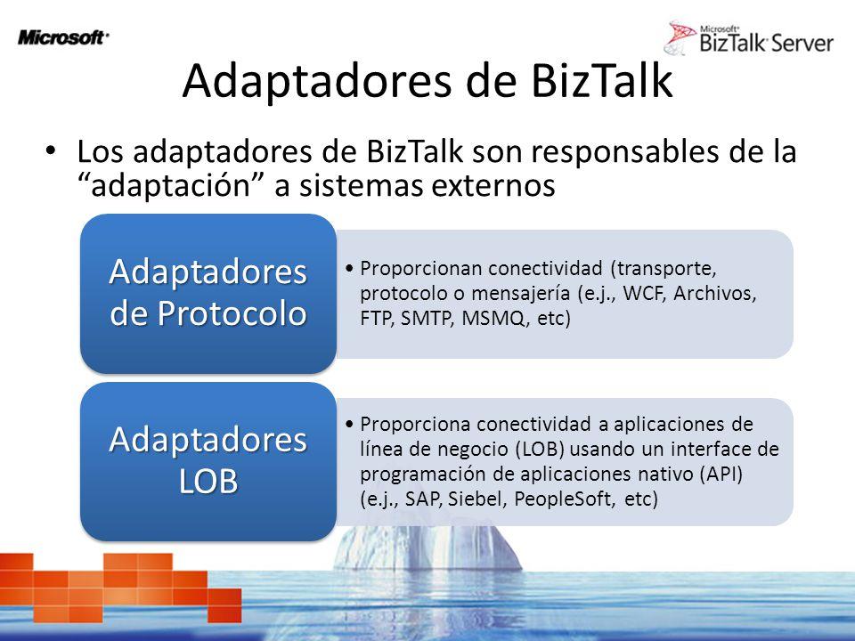 Adaptadores de BizTalk Los adaptadores de BizTalk son responsables de la adaptación a sistemas externos Proporcionan conectividad (transporte, protoco