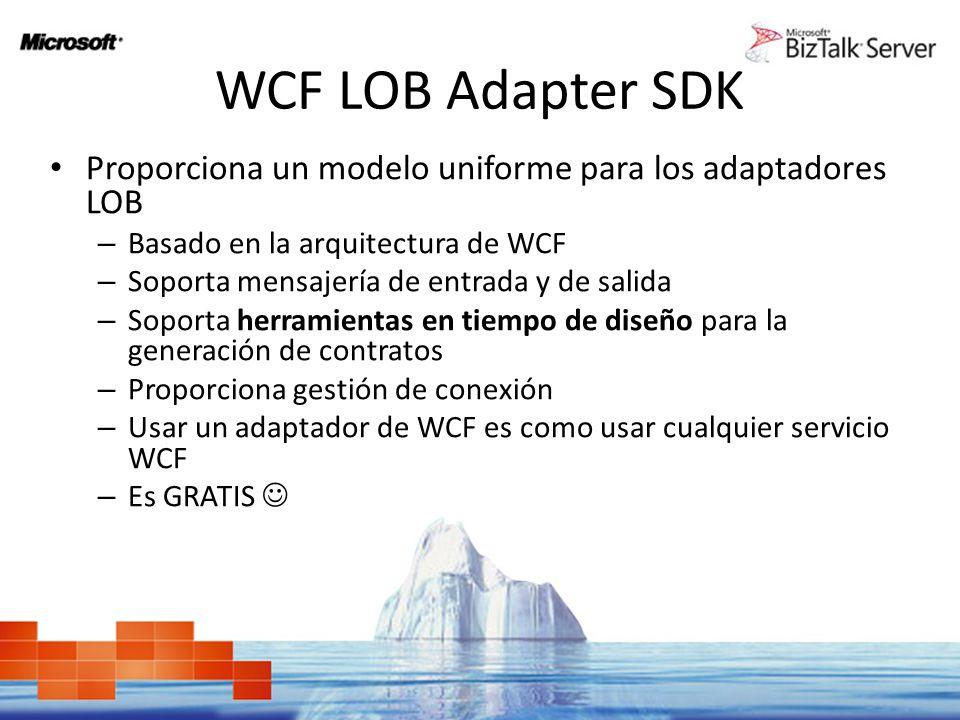 WCF LOB Adapter SDK Proporciona un modelo uniforme para los adaptadores LOB – Basado en la arquitectura de WCF – Soporta mensajería de entrada y de sa