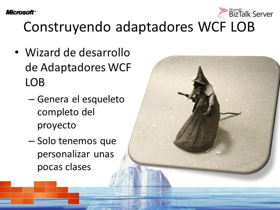 Construyendo adaptadores WCF LOB Wizard de desarrollo de Adaptadores WCF LOB – Genera el esqueleto completo del proyecto – Solo tenemos que personaliz