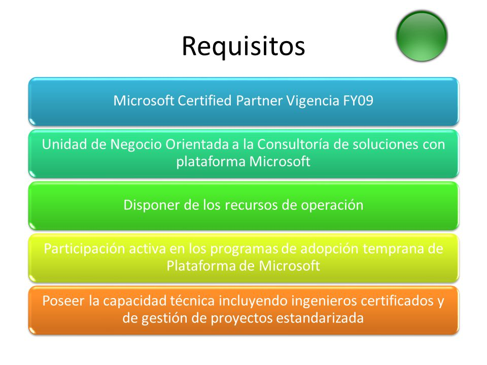 Requisitos Microsoft Certified Partner Vigencia FY09 Unidad de Negocio Orientada a la Consultoría de soluciones con plataforma Microsoft Disponer de l