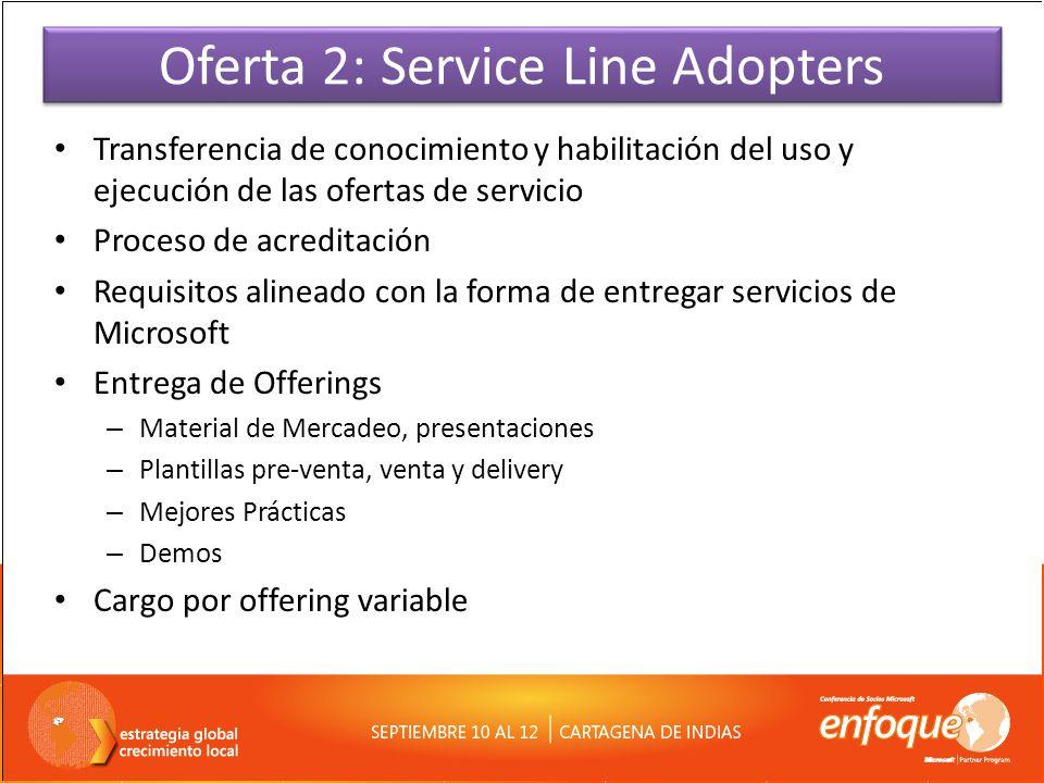 Oferta 2: Service Line Adopters Transferencia de conocimiento y habilitación del uso y ejecución de las ofertas de servicio Proceso de acreditación Re