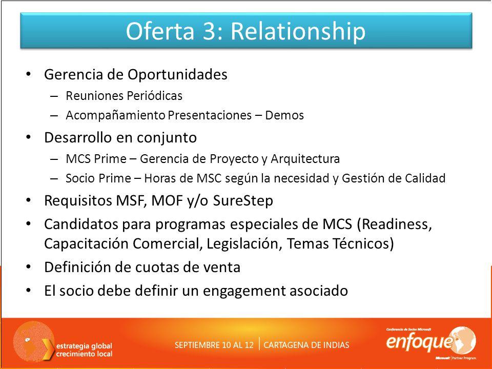 Oferta 3: Relationship Gerencia de Oportunidades – Reuniones Periódicas – Acompañamiento Presentaciones – Demos Desarrollo en conjunto – MCS Prime – G