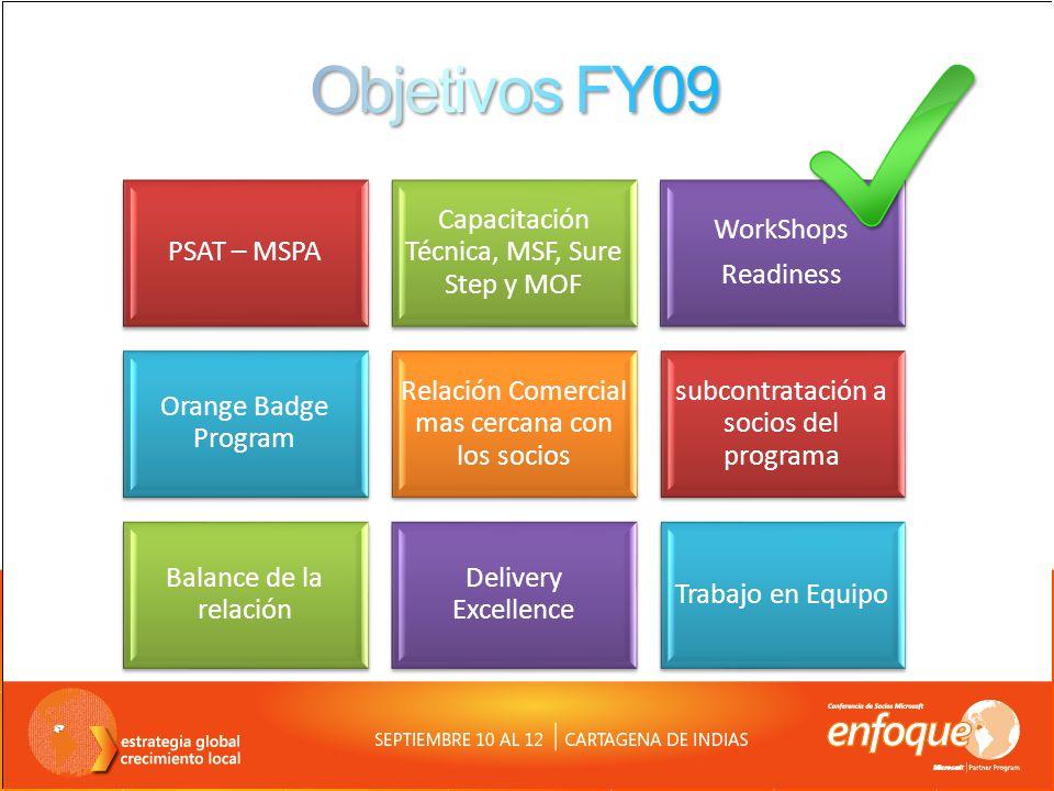 FY09 Transferencia de Ofertas a Socios Seguimiento de Oportunidades en Conjunto Compartir cuentas foco de Servicios Evaluación de recursos Orange Badge – Exploración en LATAM Compartir Resultados de CPE