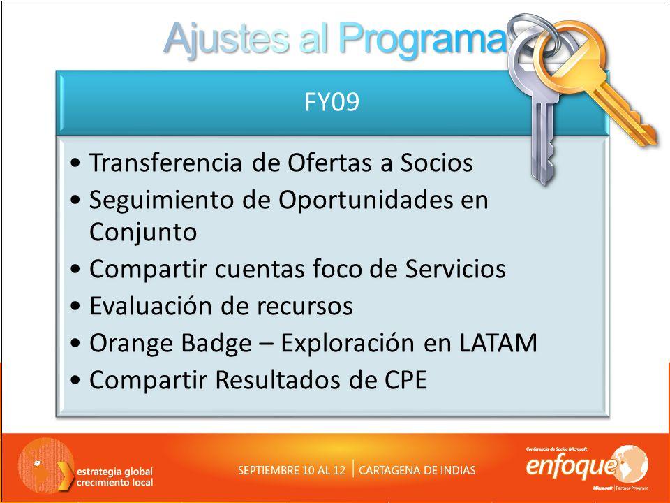 FY09 Transferencia de Ofertas a Socios Seguimiento de Oportunidades en Conjunto Compartir cuentas foco de Servicios Evaluación de recursos Orange Badg