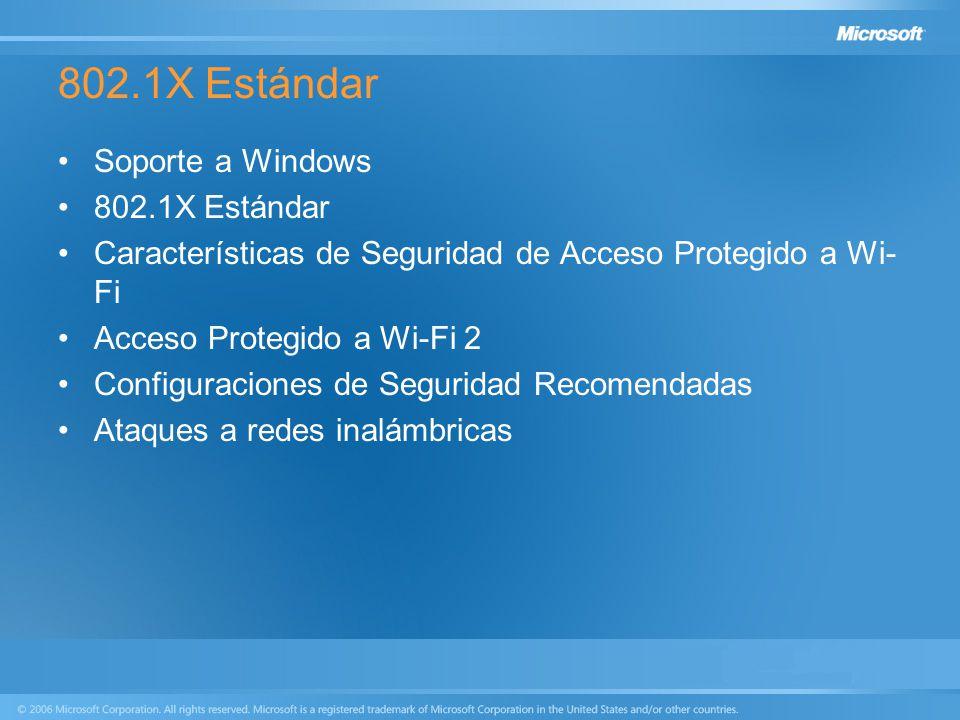 802.1X Estándar Soporte a Windows 802.1X Estándar Características de Seguridad de Acceso Protegido a Wi- Fi Acceso Protegido a Wi-Fi 2 Configuraciones