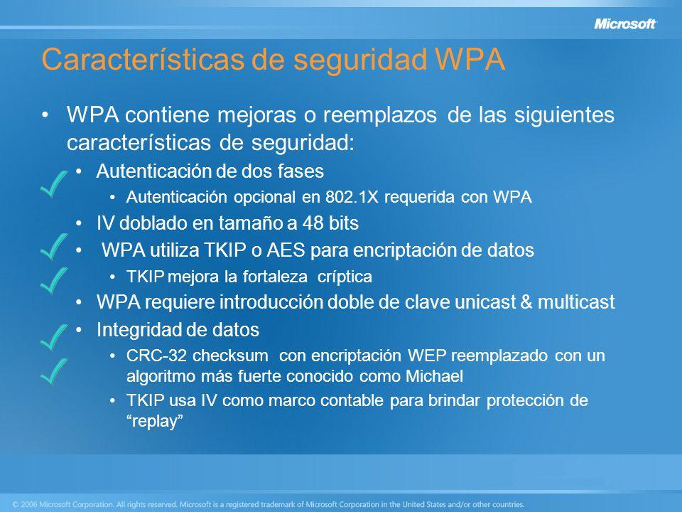 Características de seguridad WPA WPA contiene mejoras o reemplazos de las siguientes características de seguridad: Autenticación de dos fases Autentic
