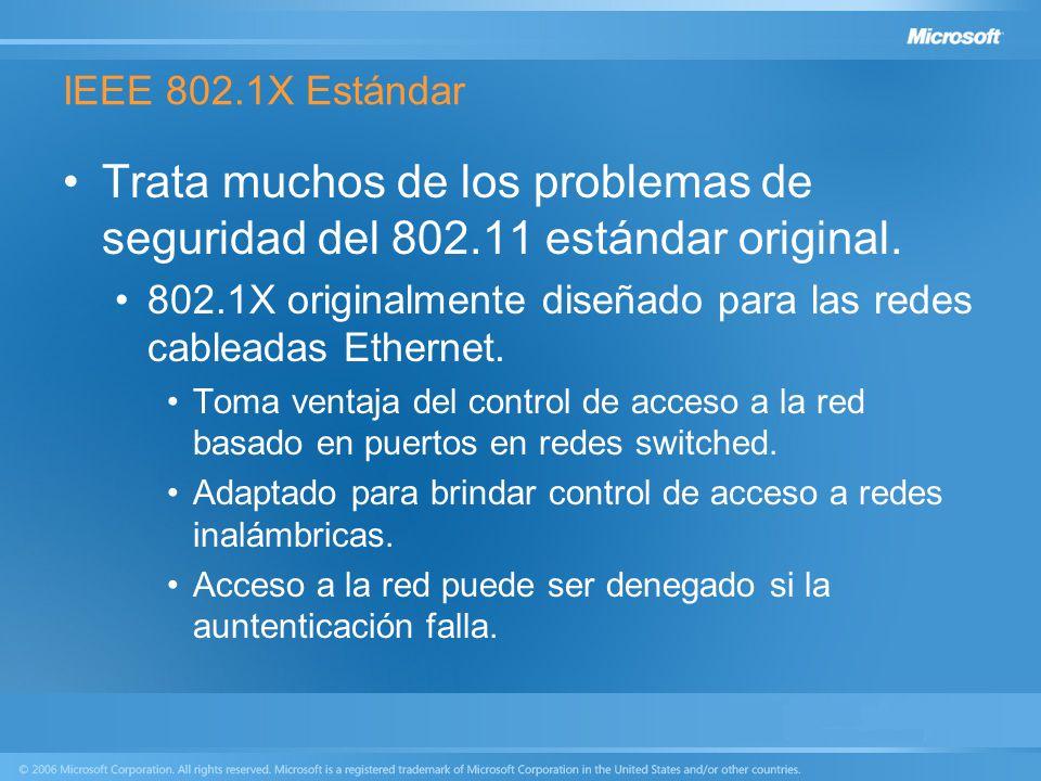 IEEE 802.1X Estándar Trata muchos de los problemas de seguridad del 802.11 estándar original. 802.1X originalmente diseñado para las redes cableadas E