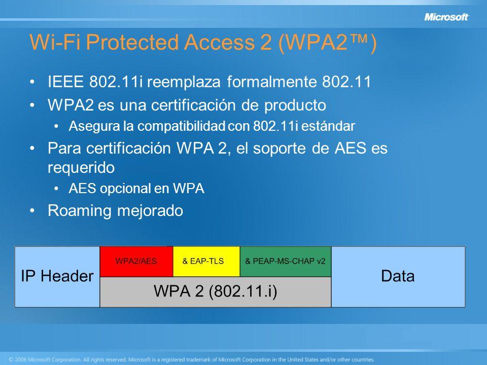 Wi-Fi Protected Access 2 (WPA2) IEEE 802.11i reemplaza formalmente 802.11 WPA2 es una certificación de producto Asegura la compatibilidad con 802.11i