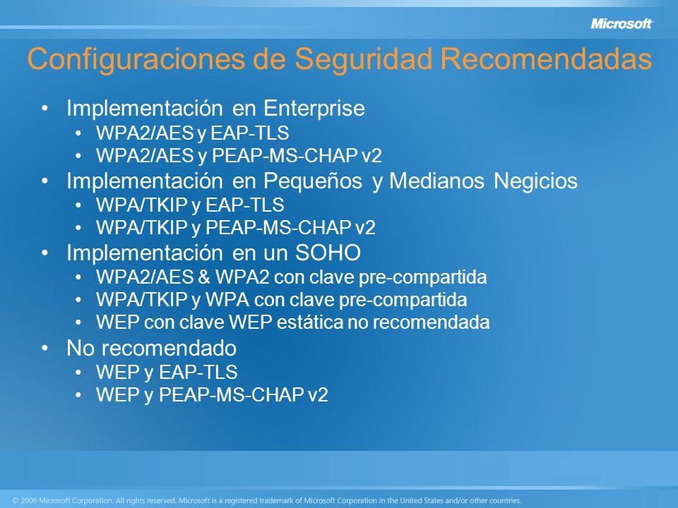 Configuraciones de Seguridad Recomendadas Implementación en Enterprise WPA2/AES y EAP-TLS WPA2/AES y PEAP-MS-CHAP v2 Implementación en Pequeños y Medi