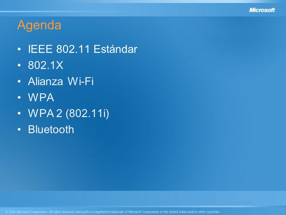 Agenda IEEE 802.11 Estándar 802.1X Alianza Wi-Fi WPA WPA 2 (802.11i) Bluetooth