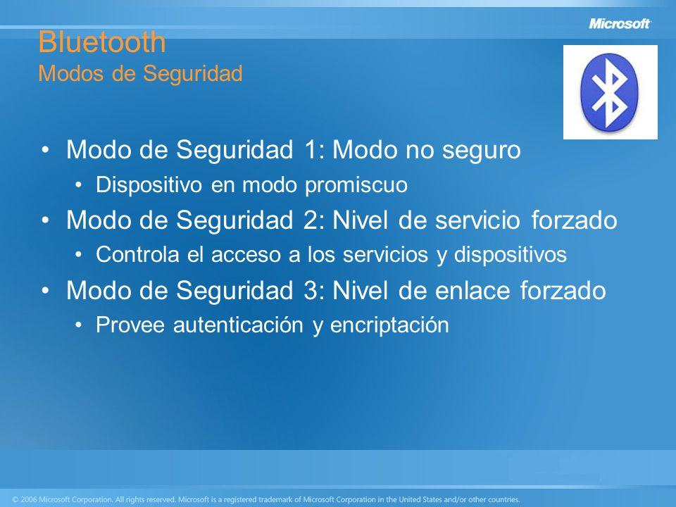 Bluetooth Modos de Seguridad Modo de Seguridad 1: Modo no seguro Dispositivo en modo promiscuo Modo de Seguridad 2: Nivel de servicio forzado Controla
