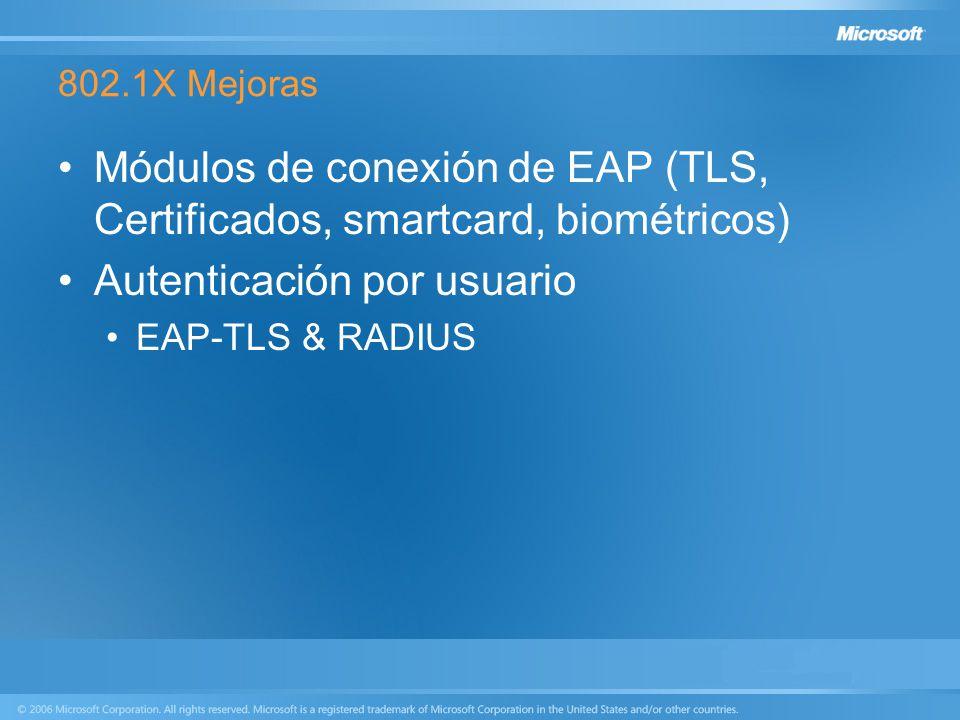 802.1X Mejoras Módulos de conexión de EAP (TLS, Certificados, smartcard, biométricos) Autenticación por usuario EAP-TLS & RADIUS