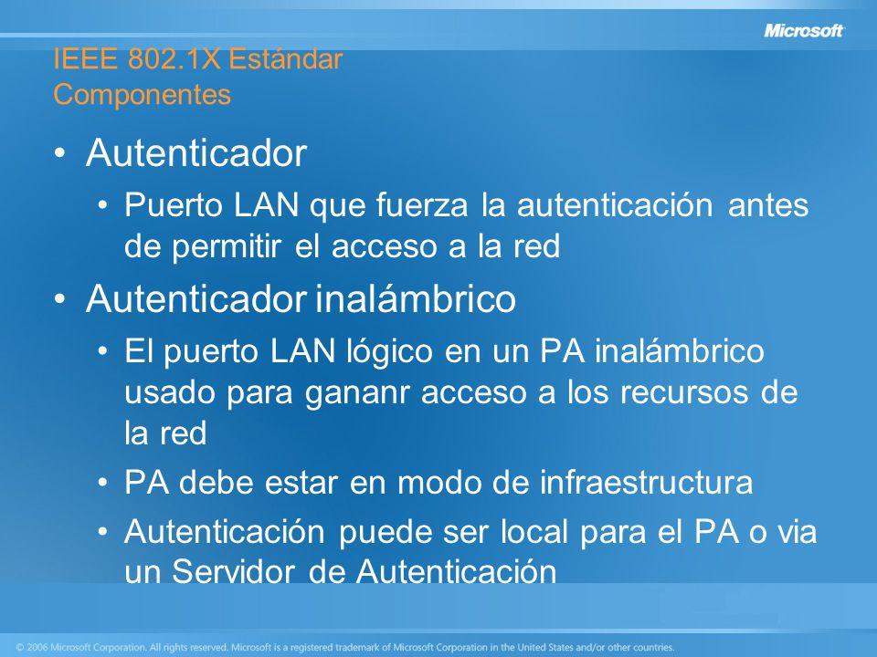 IEEE 802.1X Estándar Componentes Autenticador Puerto LAN que fuerza la autenticación antes de permitir el acceso a la red Autenticador inalámbrico El