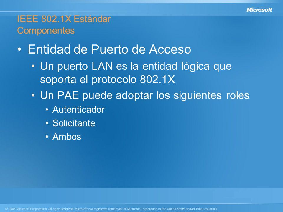 IEEE 802.1X Estándar Componentes Entidad de Puerto de Acceso Un puerto LAN es la entidad lógica que soporta el protocolo 802.1X Un PAE puede adoptar l