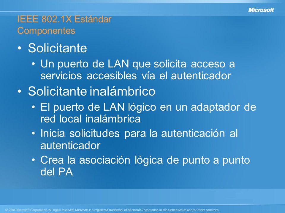 IEEE 802.1X Estándar Componentes Solicitante Un puerto de LAN que solicita acceso a servicios accesibles vía el autenticador Solicitante inalámbrico E