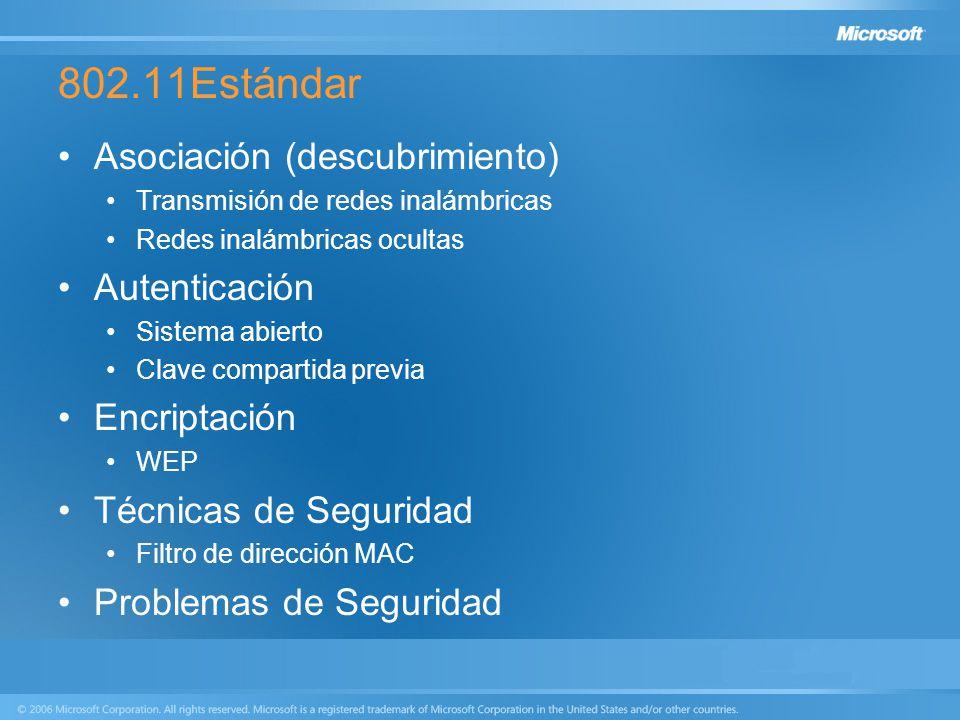 802.11Estándar Asociación (descubrimiento) Transmisión de redes inalámbricas Redes inalámbricas ocultas Autenticación Sistema abierto Clave compartida