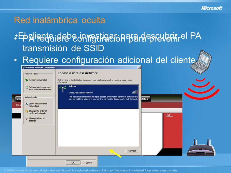 Red inalámbrica oculta PA requiere configuración para prevenir transmisión de SSID Requiere configuración adicional del cliente SSID debe conocerse El