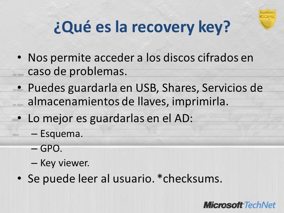 ¿Qué es la recovery key? Nos permite acceder a los discos cifrados en caso de problemas. Puedes guardarla en USB, Shares, Servicios de almacenamientos