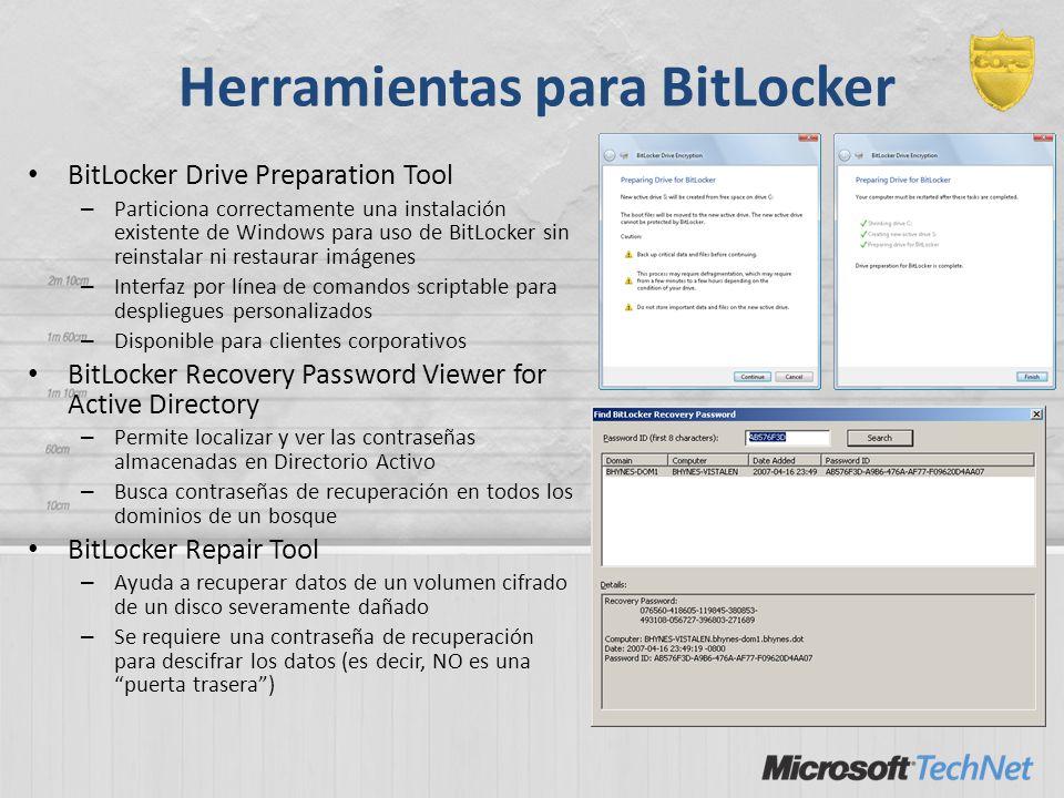Herramientas para BitLocker BitLocker Drive Preparation Tool – Particiona correctamente una instalación existente de Windows para uso de BitLocker sin