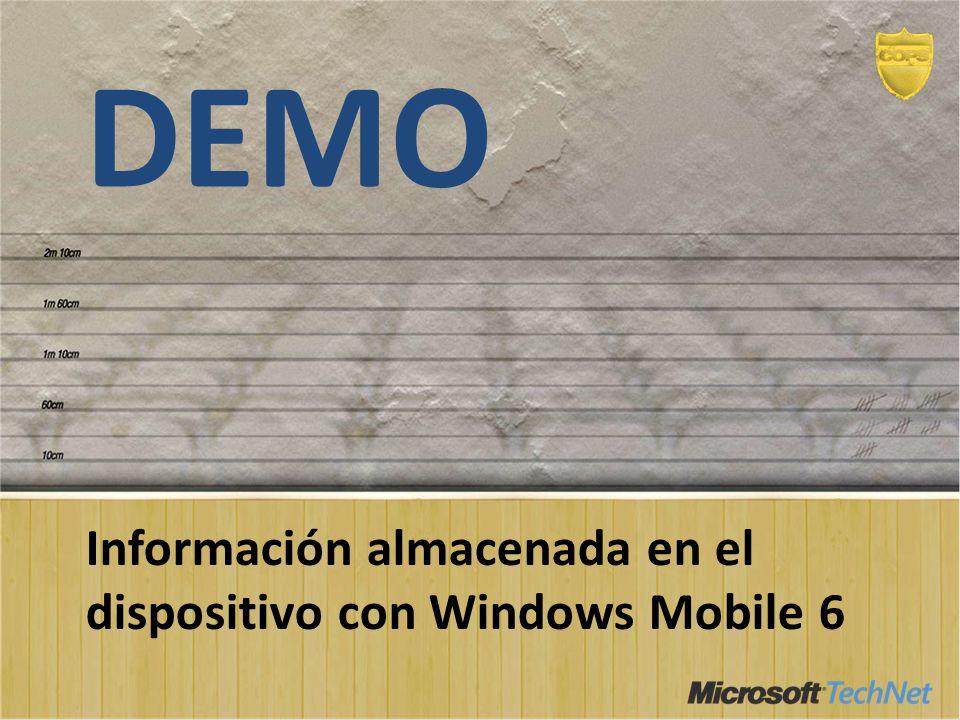 DEMO Información almacenada en el dispositivo con Windows Mobile 6