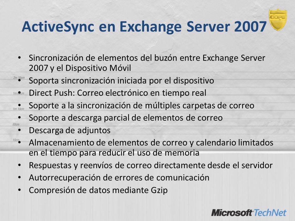 ActiveSync en Exchange Server 2007 Sincronización de elementos del buzón entre Exchange Server 2007 y el Dispositivo Móvil Soporta sincronización inic