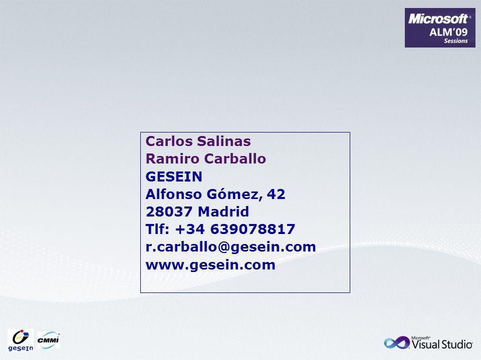 Carlos Salinas Ramiro Carballo GESEIN Alfonso Gómez, 42 28037 Madrid Tlf: +34 639078817 r.carballo@gesein.com www.gesein.com