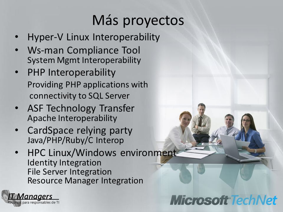 Más proyectos Hyper-V Linux Interoperability Ws-man Compliance Tool System Mgmt Interoperability PHP Interoperability Providing PHP applications with