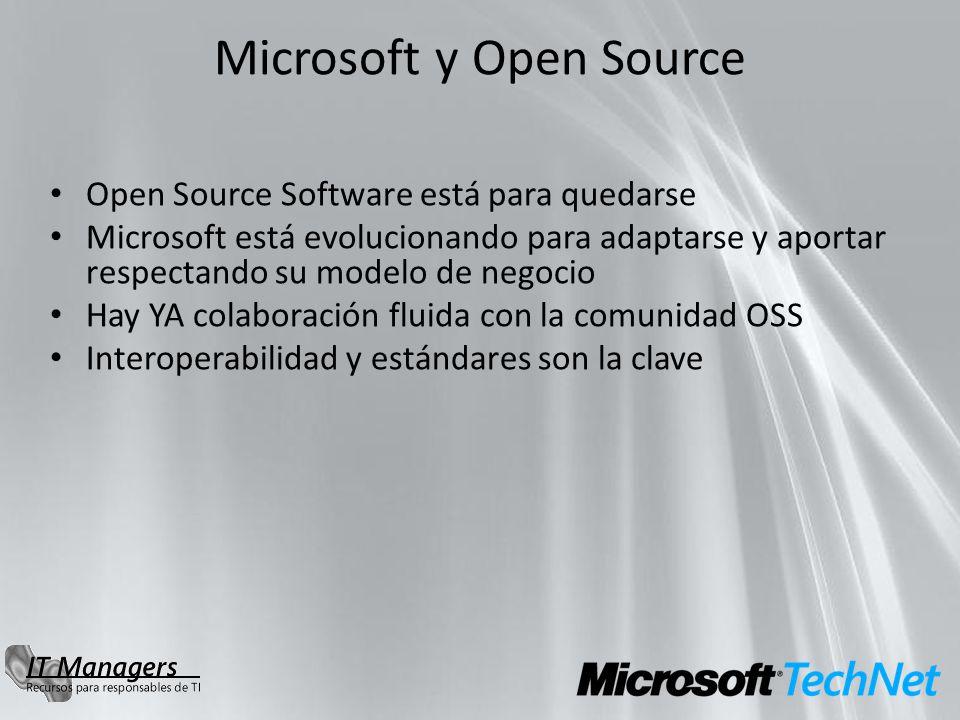 Microsoft y Open Source Open Source Software está para quedarse Microsoft está evolucionando para adaptarse y aportar respectando su modelo de negocio