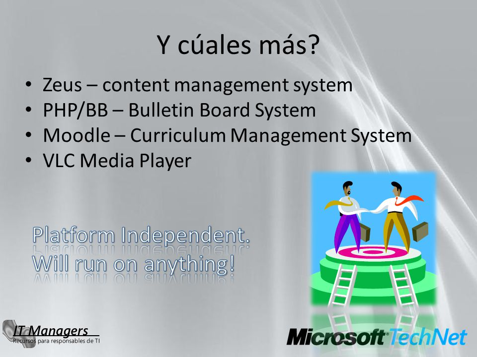 Más proyectos Hyper-V Linux Interoperability Ws-man Compliance Tool System Mgmt Interoperability PHP Interoperability Providing PHP applications with connectivity to SQL Server ASF Technology Transfer Apache Interoperability CardSpace relying party Java/PHP/Ruby/C Interop HPC Linux/Windows environment Identity Integration File Server Integration Resource Manager Integration