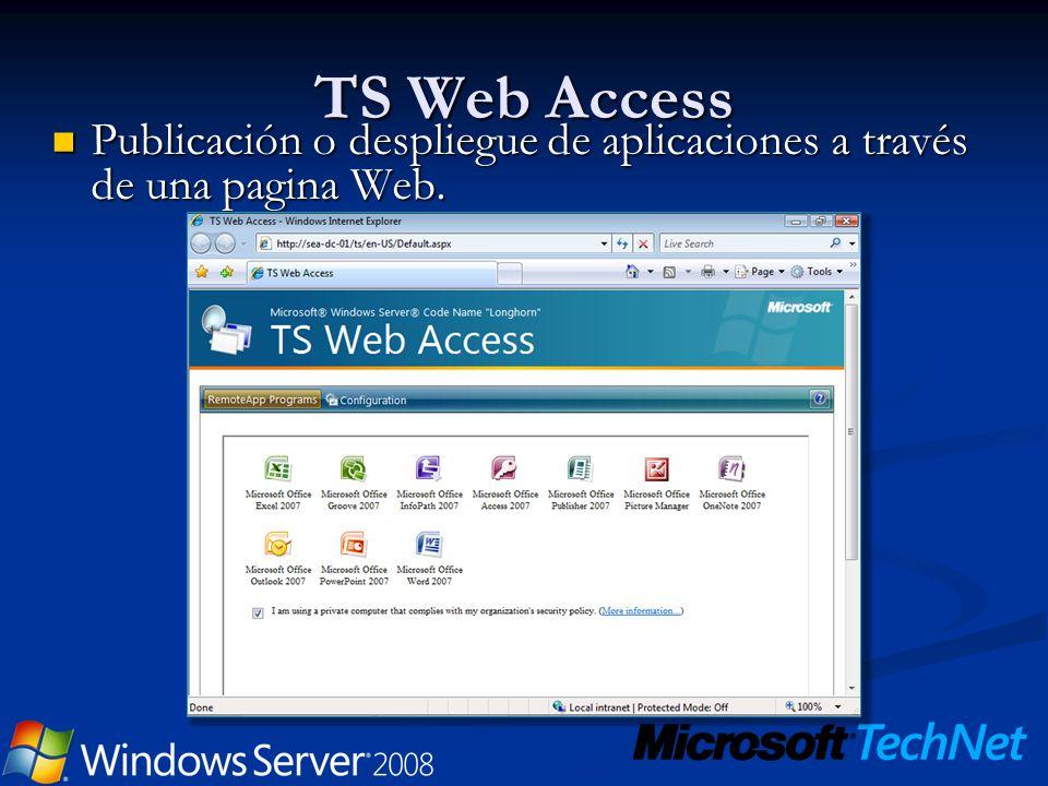 TS Web Access Publicación o despliegue de aplicaciones a través de una pagina Web. Publicación o despliegue de aplicaciones a través de una pagina Web