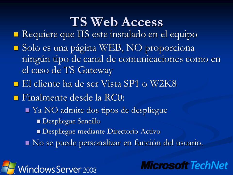 TS Web Access Requiere que IIS este instalado en el equipo Requiere que IIS este instalado en el equipo Solo es una página WEB, NO proporciona ningún
