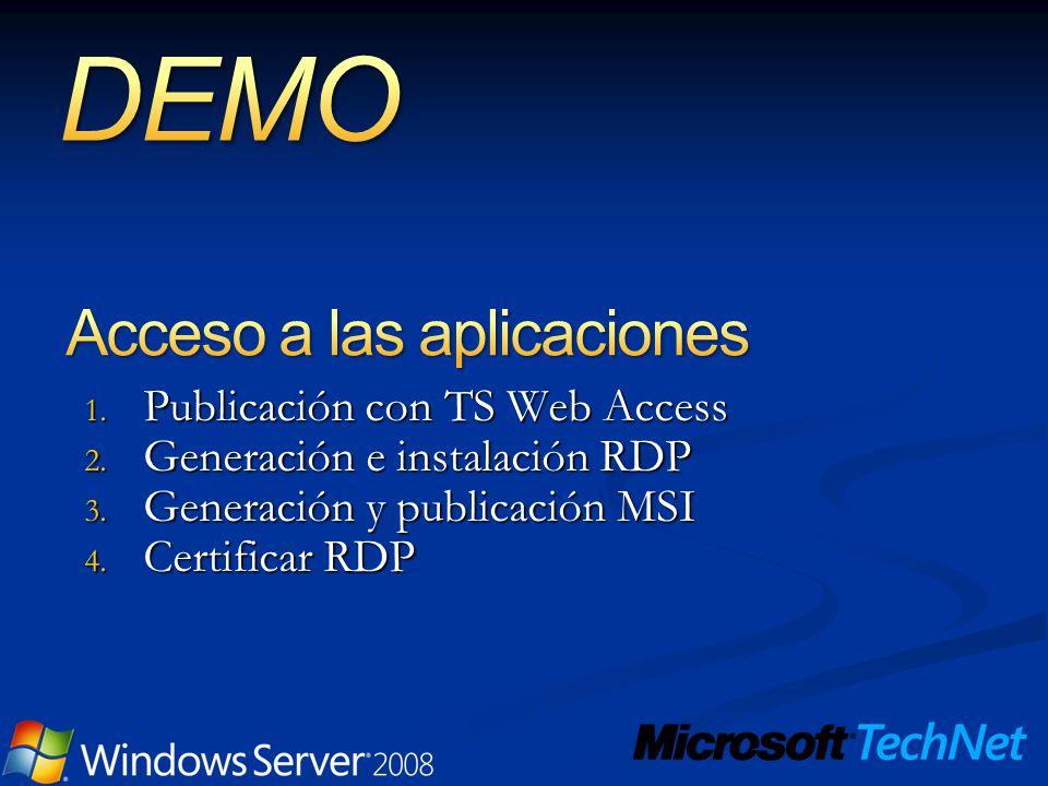 1. Publicación con TS Web Access 2. Generación e instalación RDP 3. Generación y publicación MSI 4. Certificar RDP