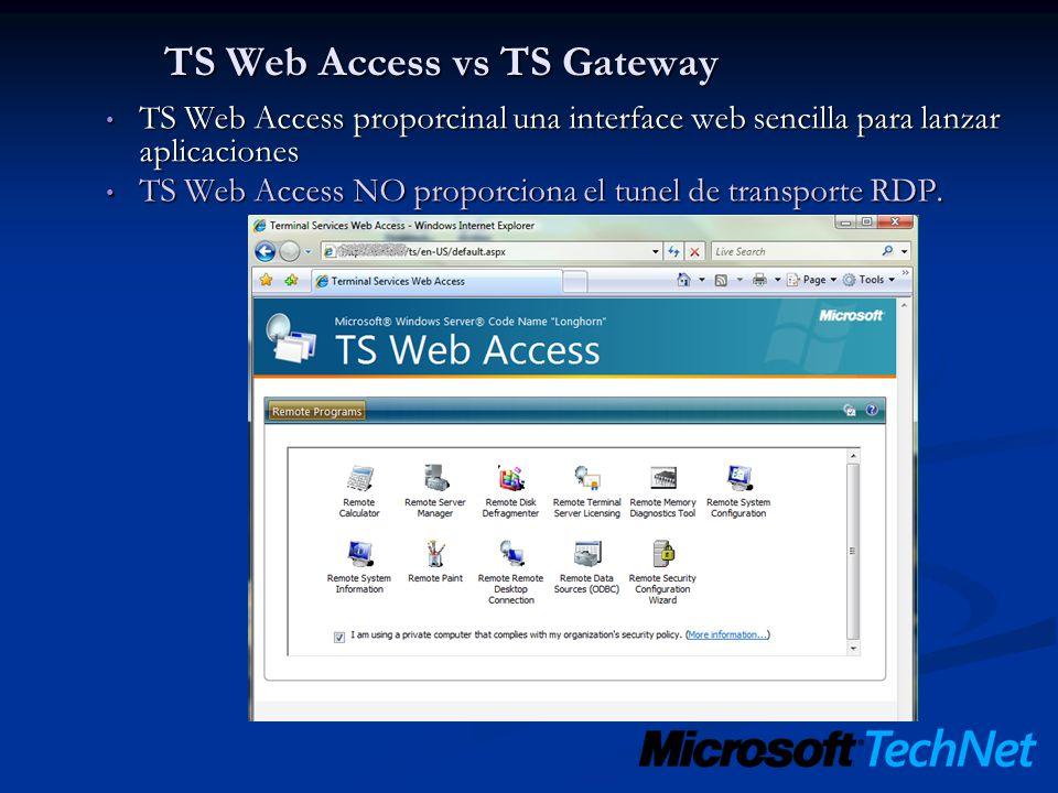 TS Web Access vs TS Gateway TS Web Access proporcinal una interface web sencilla para lanzar aplicaciones TS Web Access proporcinal una interface web