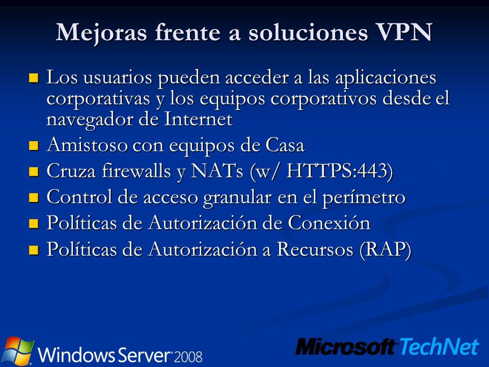 Mejoras frente a soluciones VPN Los usuarios pueden acceder a las aplicaciones corporativas y los equipos corporativos desde el navegador de Internet