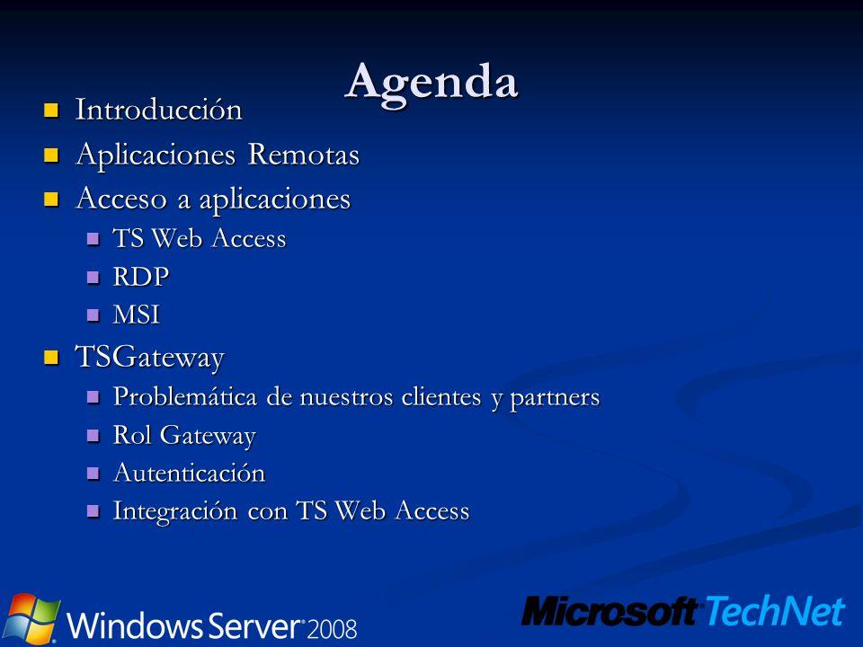 Agenda Introducción Introducción Aplicaciones Remotas Aplicaciones Remotas Acceso a aplicaciones Acceso a aplicaciones TS Web Access TS Web Access RDP