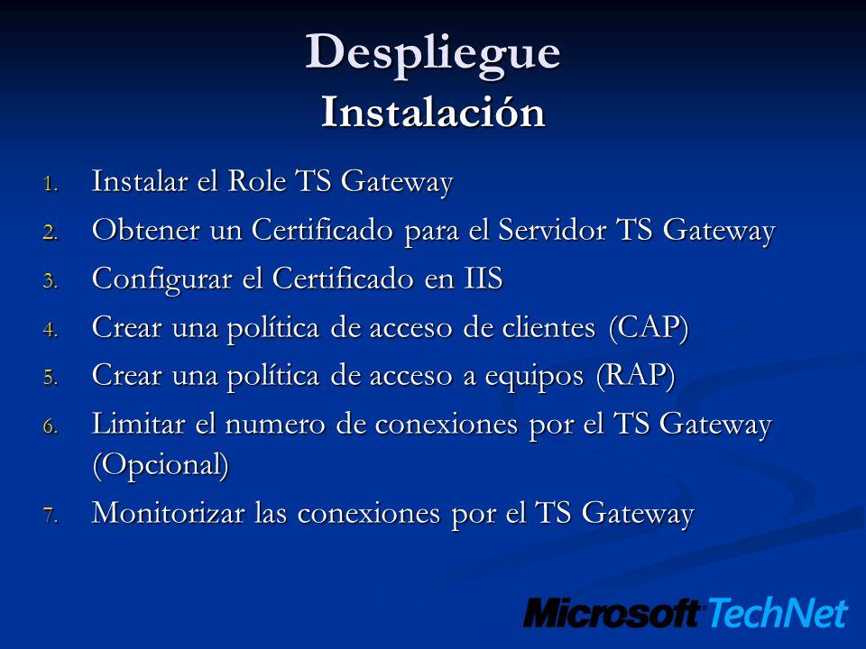 Despliegue Instalación 1. Instalar el Role TS Gateway 2. Obtener un Certificado para el Servidor TS Gateway 3. Configurar el Certificado en IIS 4. Cre