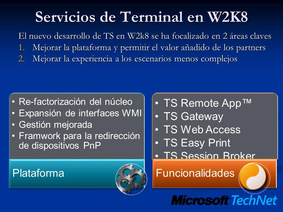 Servicios de Terminal en W2K8 El nuevo desarrollo de TS en W2k8 se ha focalizado en 2 áreas claves 1.Mejorar la plataforma y permitir el valor añadido