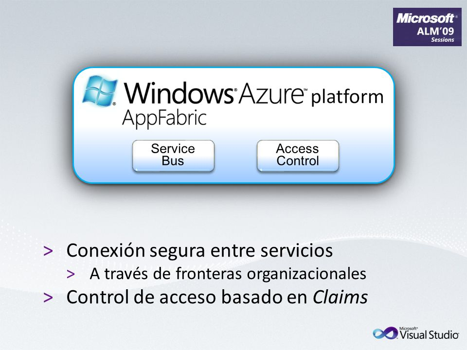 >Conexión segura entre servicios >A través de fronteras organizacionales >Control de acceso basado en Claims