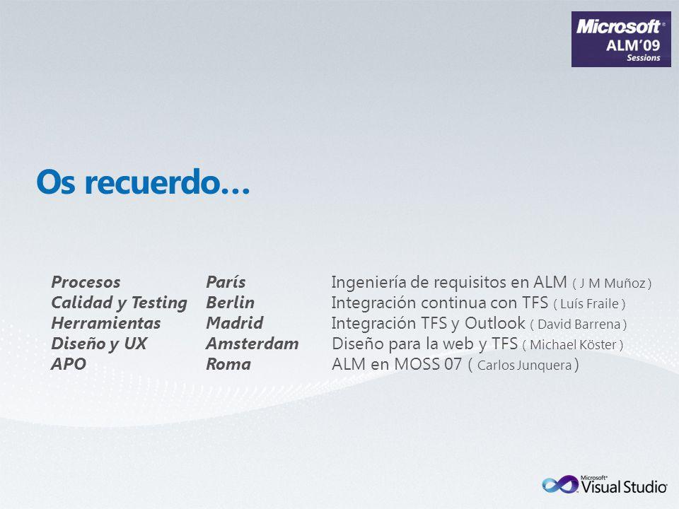 Procesos París Ingeniería de requisitos en ALM ( J M Muñoz ) Calidad y Testing Berlin Integración continua con TFS ( Luís Fraile ) Herramientas Madrid