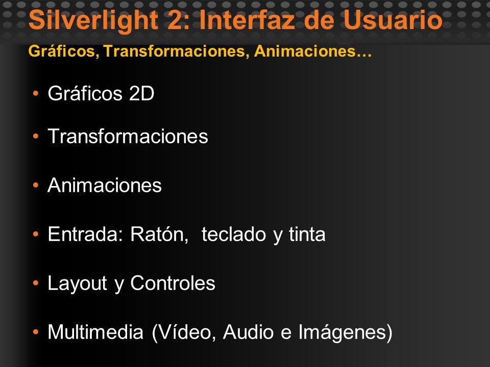 Silverlight 2: Interfaz de Usuario Gráficos, Transformaciones, Animaciones… Gráficos 2D Transformaciones Animaciones Entrada: Ratón, teclado y tinta L