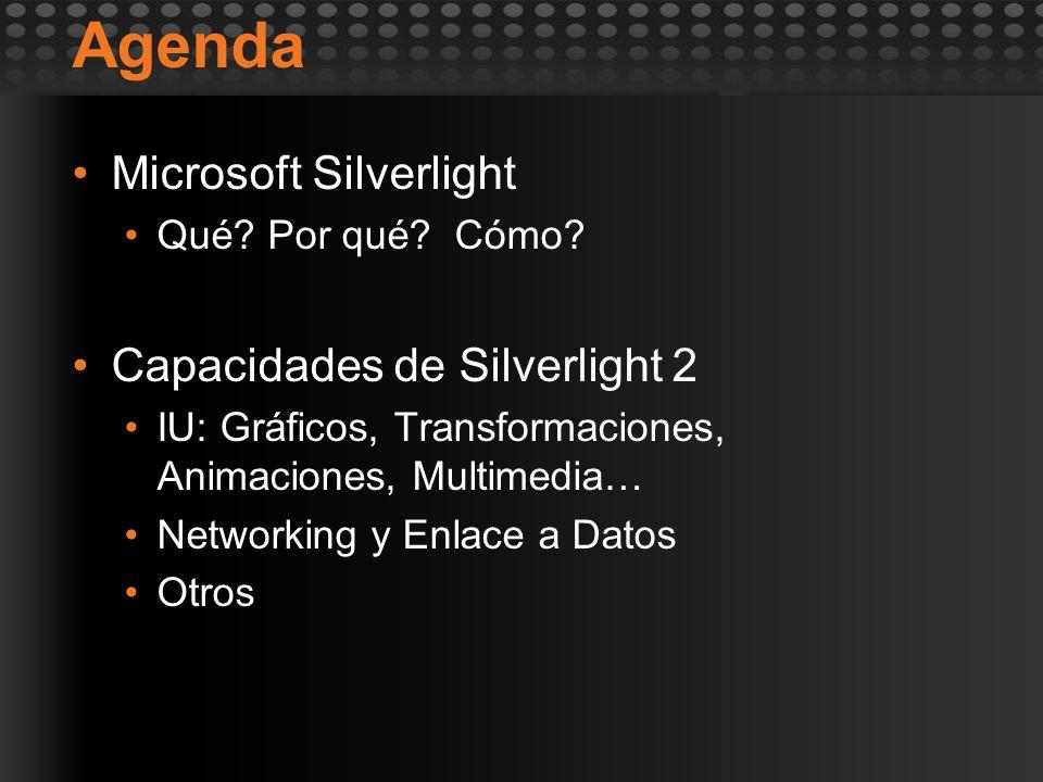 Agenda Microsoft Silverlight Qué? Por qué? Cómo? Capacidades de Silverlight 2 IU: Gráficos, Transformaciones, Animaciones, Multimedia… Networking y En