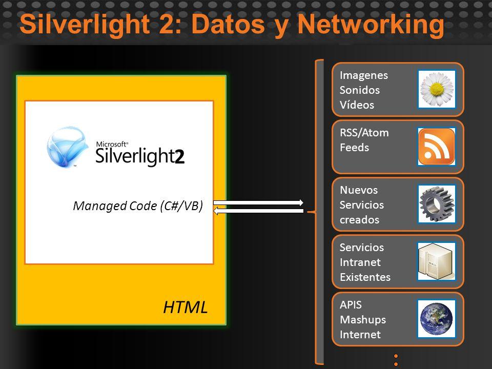 2 Managed Code (C#/VB) Silverlight 2: Datos y Networking HTML APIS Mashups Internet Servicios Intranet Existentes Nuevos Servicios creados RSS/Atom Fe