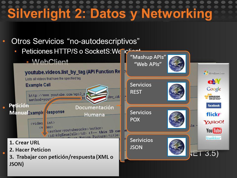 Otros Servicios no-autodescriptivos Peticiones HTTP/S o SocketS:Webclient WebClient HttWebRequest Cross-domain Tratamiento de datos de retorno XML: Xm