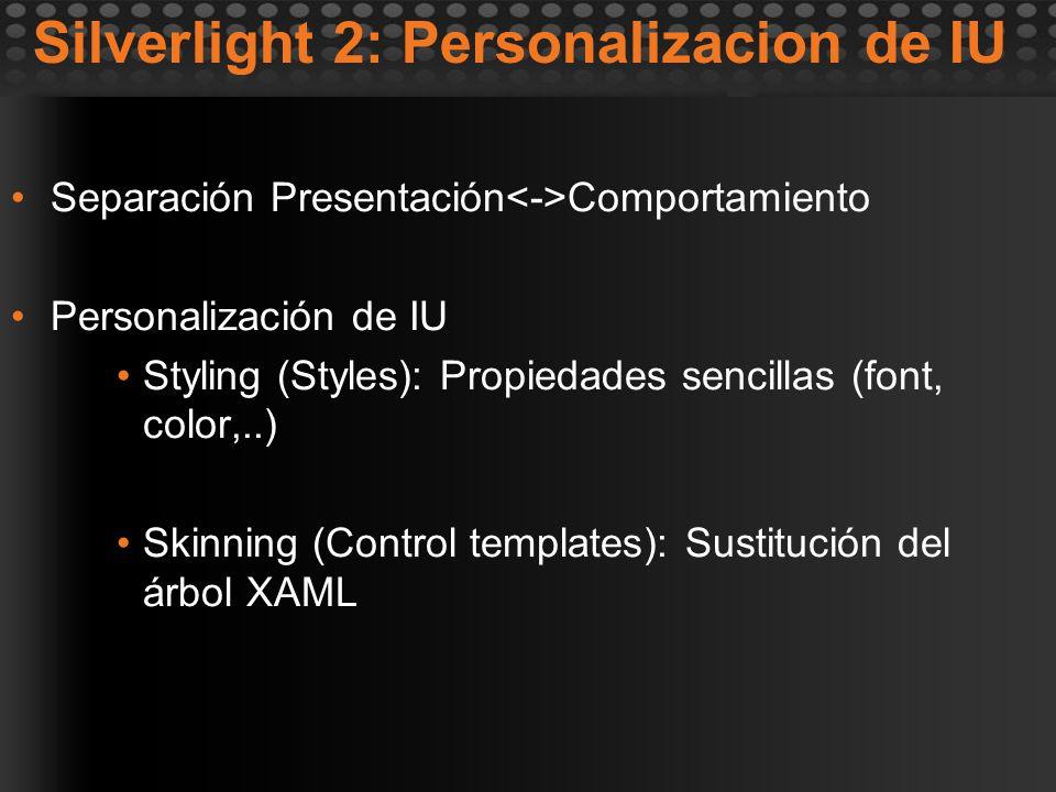 Silverlight 2: Personalizacion de IU Separación Presentación Comportamiento Personalización de IU Styling (Styles): Propiedades sencillas (font, color