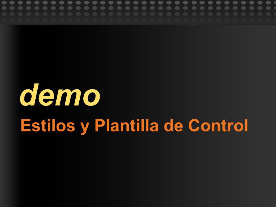 Estilos y Plantilla de Control demo